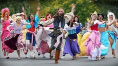 Disney  cosplay, hilarious! Love how Capt Jack is running from the princesses