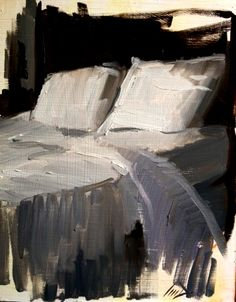 semi-made bed or unmade bed painting sketch - Sean Dietrich
