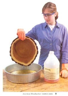 How to preserve wood slices.