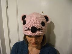 crochet mouse hat with instructions/pattern