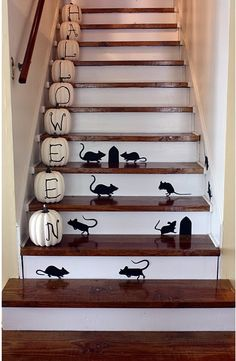 I know that I could do something with velcro and putting images and/or words on the stairs at school...