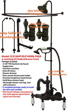 shower riser for clawfoot tub. 3 PL Handles 8 Tub Mount Clawfoot Faucet w Shower Riser Enclosure  Kit Oil Rubbed Bronze W