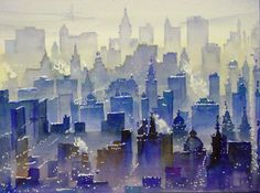 Urban watercolour Japanese artist Kazuo Kasai http://www.pinterest.com/7Gemini/cities-buildings-landscapes/