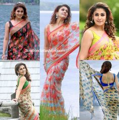 Nayanthara's Floral Sarees in Babu Bangaram – South India Fashion Indian Beauty Saree, Indian Sarees, Indian Dresses, Indian Outfits, Floral Print Sarees, Simple Sarees, Saree Look, Casual Saree, Fancy Sarees