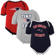 New England Patriots Infant 3-Pack Tiny Fan Creepers - Navy Blue/Red/Ash