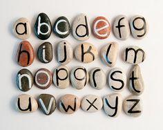 Alphabet Magnets, Beach Pebbles by Happy Emotions, Gift Ideas, Sea Stones, Personalized, Rocks. $39.00, via Etsy.