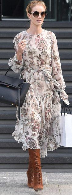 Rosie Huntington-Whiteley: Dress – Zimmermann Purse – Celine Sunglasses – Jimmy Choo Ring – Neil Lane Earrings – Anita Ko Shoes – Miu Miu
