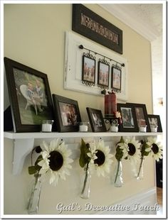 cabinet door picture frame ... love it... Dislike the hanging vases with flowers