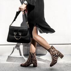 Black and Animal Print...#style #fashion #ankleboots #Aritzia #MGemi #j.w.anderson