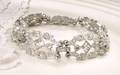 ORIGINAL 1920 Art Deco Bracelet Clear Rhinestone Flapper Jewelry Antique Something Old Silver Pave Crystal Vintage Wide Link Bridal Bracelet by AmoreTreasure