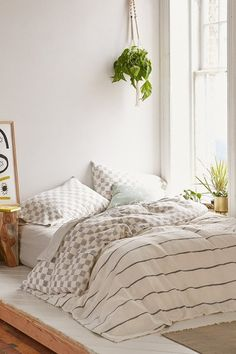 Cosy campo check woven duvet cover / urban outfitters.