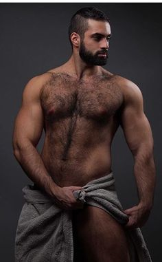 Ideal icon man, incredible hairy chest and beard moustache