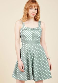 #ModCloth - #ModCloth BRV CLOSED:Soda Shop Celeb A-Line Dress in Dotted Mint in M - AdoreWe.com