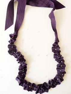 Thanks, I Made It: DIY Ruffled Ribbon Crystal Bead Necklace Tutorial