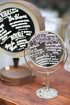 bar menu | Wedding Style; writing on mirrors with liquid chalk is a fantastic idea! www.lafabriqueareves.com