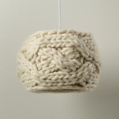 chunky knitted lampshade cover