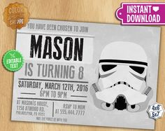 Star Wars Invitation - EDITABLE TEXT - Stormtrooper Customizable Printable Birthday Party Invite Jedi Sith Knight Galaxy - Instant Download