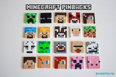 Minecraft pinbacks hama beads, party favors by DecorarteLeon,