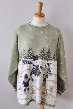 Vtg Ugly Christmas Sweater Women men L 2 side snowman mint Acrylic jumper CS32 #Adele #Crewneck