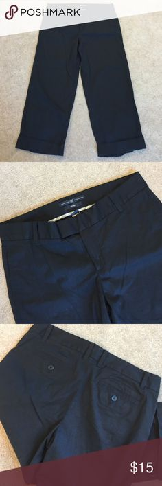 Black Gap Capris 97% cotton 3% elastane. 22 inch inseam cuffed Gap Pants Ankle & Cropped