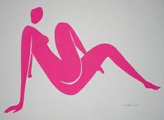"""Saatchi Art Artist Elizabeth Lever; Collage, """"Ella in Magenta"""" #art"""