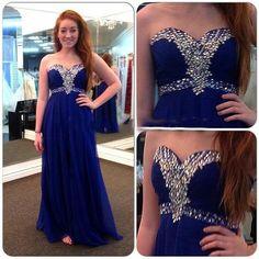 long prom dress, royal blue prom dress, chiffon