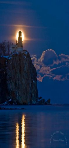 Moonrise Split Rock Lighthouse State Park Two Harbors Minesota USA