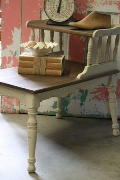 Cute little, made to look vintage table and how to steel wool & vinegar wood stain