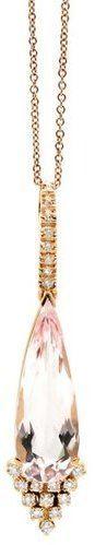 Tresor Collection - 18K Rose Gold MoRGanite And Diamond Tear Drop Pendant