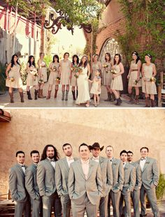 the boots, the coordinating but not completely matching bridesmaids, grey suits with orange checkered shirts. Her wedding dress, belt, and head piece. possibilities-for-someday Wedding Trends, Wedding Pictures, Wedding Ideas, Wedding Reception, Wedding Planning, Bridesmaids In Boots, Wedding Photography Inspiration, Wedding Inspiration, Mexican Rodeo