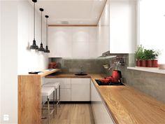 Kuchnia w dwóch odsłonach- nowocześnie i klasycznie - Mała zamknięta kuchnia w kształcie litery u z oknem, styl nowoczesny - zdjęcie od Inside Outside Design Malaga, Bedroom, Table, Kitchen Ideas, Kitchens, House, Interiors, Furniture, Home Decor
