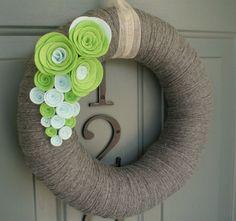 Yarn Wreath Felt Handmade Door Decoration Celery 12in by ItzFitz
