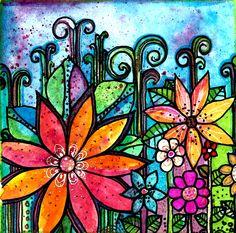 Nightfall  5 x 5 inch handmade notecard bird flowers  perch wings tree branches. $5.00, via Etsy.