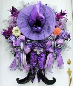 Adorable Purple Witch Halloween Wreath.