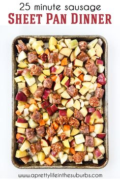 Make this 25 Minute Sausage Sheet Pan Dinner in less than 1 hour! One dish means dinner prep and clean up is quick and easy. Great Recipes, Dinner Recipes, Simple Green Salad, Healty Dinner, Family Meal Planning, Different Vegetables, Different Recipes, Sheet Pan, Food Hacks