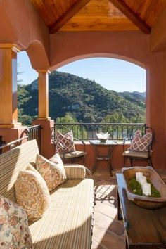 A look at Tom Petty's small outdoor living area. The brown color of the interior and the green color coming from the view of the mountains have a calming effect. The combination of rustic French furniture, old wood and more polished ones work so well! #OutdoorLivingSpace #StoneHousesInterior #CelebrityHouses  Images courtesy of Toptenrealestatedeals.com. Outside Living, Outdoor Living Areas, Stone Texture Wall, Cozy Bar, Tiny Living Rooms, Rustic Stone, Rustic French, Cabins And Cottages, Outdoor Kitchens