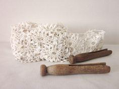 Lace Trim Off-White, Vintage, Mid Century, Supplies.