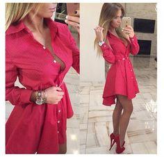 2016 Nuevo otoño de la manera Camisa de Las Mujeres Vestido Irregular de La…