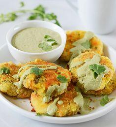 Vegetable Patties Yummy vegan and gluten free patties with potato, carrot, peas with creamy cilantro sauce!