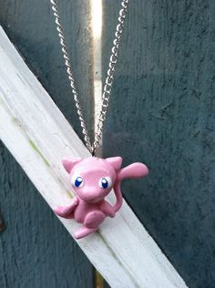 Pokemon Necklace Mew Polymer Clay Charm by PokemonCharms on Etsy, $15.00