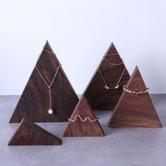 Jewelry store Dark Walnut Triangle Mountain Bracelets Display Holder - Jewelry Display Showcase Your Wood Jewelry Display, Jewelry Display Stands, Bracelet Display, Ring Displays, Jewelry Stand, Jewelry Holder, Jewellery Display, Necklace Holder, Tree Necklace