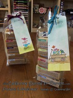 """Signet + Emballage Cadeau / Bookmark + gift bag ... Jeu d'étampes / Stamp Set """"For the Birds"""" ... www.creationencreetpapier.com"""