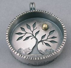 Summer Tree - Sidhe Designs Jewelry Contemporary Jewellery, Modern Jewelry, Unique Jewelry, Jewelry Design, Stone Jewelry, Metal Clay Jewelry, Pendant Jewelry, Handmade Silver Jewellery, Silver Jewelry