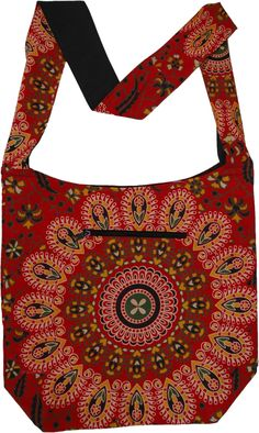 A red beautiful ethnic mandala printed bohemian cotton shoulder bag with yellow and black flora - an attractive and colorful bag on your shoulder with all the things you need when you are out and traveling, including a pocket for a cell phone on the front of the bag. The shoulder strap is long enough that can be comfortably worn across the shoulder or cross-body. #tlb #Yoga #vacationclothing #beachwrap #bohemianfashion #Handmade #printedbodybag #yogabag #shoulderbag