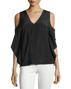 Azalea+Cold-Shoulder+Silk+Top,+Black+by+Bailey+44+at+Neiman+Marcus.