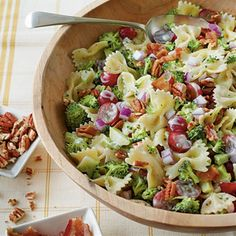 Broccoli, Grape, and Pasta Salad:  When I make this, instead of full mayo, use 1/2 cup mayo and 1/2 cup greek yogurt, plain.