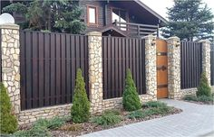 Backyard wall decoration home super Ideas Fence Gate Design, Modern Fence Design, House Wall Design, House Front Design, Brick Fence, Front Yard Fence, Backyard Fences, Backyard Landscaping, Landscaping Retaining Walls