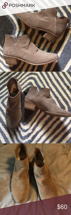 Dolce Vita Suede Taupe Booties Great condition, perforated suede with zip up back. Very comfy, fits roomy 8 or reg 8.5 Dolce Vita Shoes Ankle Boots & Booties