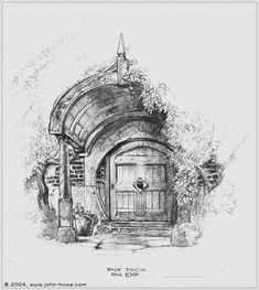 Lord of the Rings concept art by John Howe - I want the back door to my house to look like this!