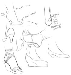 Art Tutorials and References vanillycake: how I draw high heels - Thought it. Drawing Reference Poses, Drawing Poses, Drawing Tips, Art Reference, How To Draw Heels, Drawing High Heels, Digital Art Tutorial, Fashion Design Drawings, Art Poses